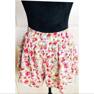Olsenboye lined pink and green floral skort